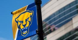 New Pitt Panther logo light pole banner