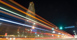 Cathedral of Learning at night along Forbes Avenue