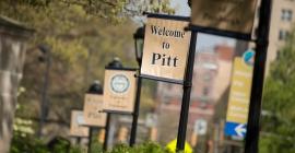 Pitt banners on light poles along Fifth Avenue
